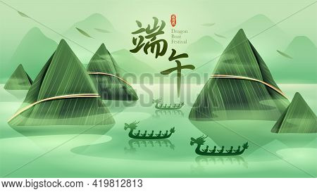 Dragon Boat Festival With Rice Dumpling Mountain And Dragon Boat On Oriental Tranquil Scene. Transla