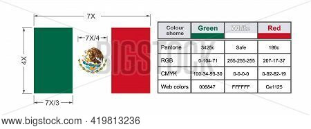 Flag Of Mexico Showing All Proportions, Sizes And Color Schemes. Tricolor Of Green, White, And Red W