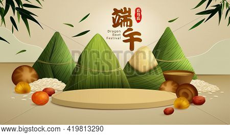 Dragon Boat Festival Rice Dumpling, Ingredient Recipe And Round Podium On Paper Graphic Scene  Backg
