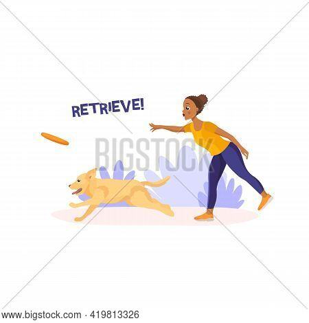Vector Illustration In Cartoon Style Isolated On White Background. Dark Skinned African-american Gir