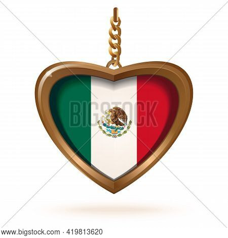 Gold Medallion In The Form Of A Heart With The Flag Of Mexico Inside. Gold Medallion With The Mexica