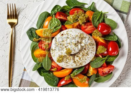 Burrata Caprese Salad With Spinach And Basil Pesto Sauce On A White Plate On A Concrete Table, Horiz