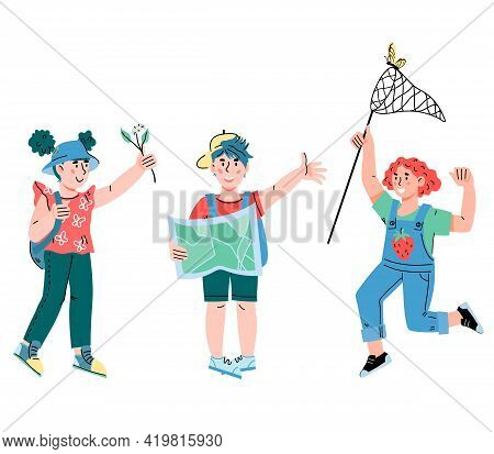 Kids Going To Travel. Little Tourists And Explorers Children Cartoon Characters With Backpacks, Cart