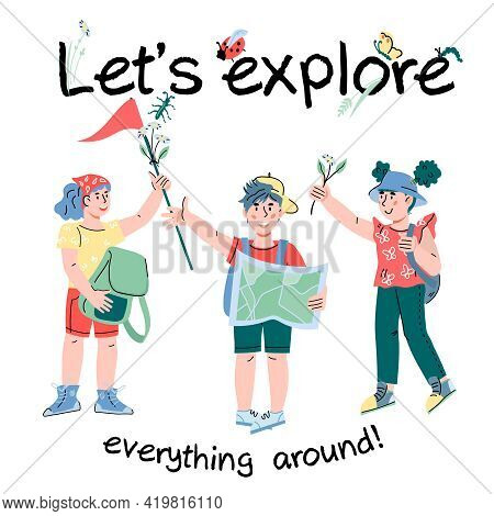 Card Or Poster For Summer Camp And Kids Tourism Activities With Cute Children Who Are Going To Trave