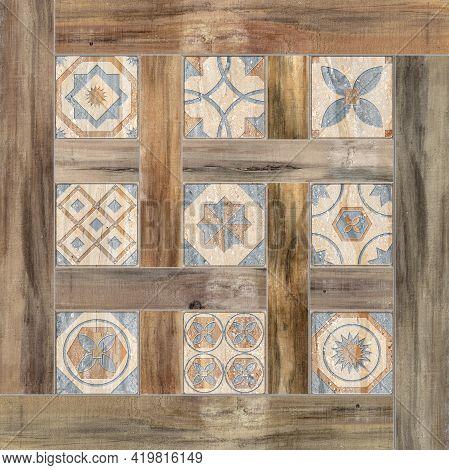 Digital Tiles Design. Digital Fresco, Wall Design. 3d Render Ceramic Wall Tiles Decoration.  Vintage