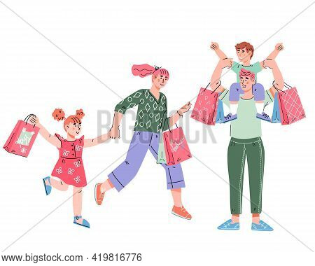 Happy Family With Shopping Bags In Hands At Sale. Father, Mother And Children With Bags And Gifts In