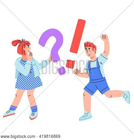 Pensive Smart Children - Girl With A Question And Boy With An Answer, Cartoon Vector Illustration Is