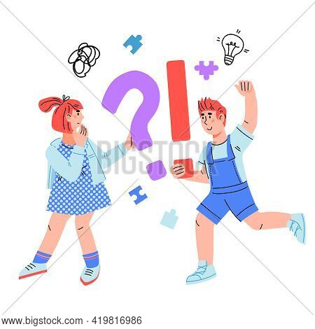 Pensive Smart Children With Question And Exclamation Sign, Cartoon Vector Illustration Isolated On W