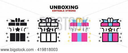 Unboxing Icon Set With Different Styles. Icons Designed In Filled, Outline, Flat, Glyph And Line Col