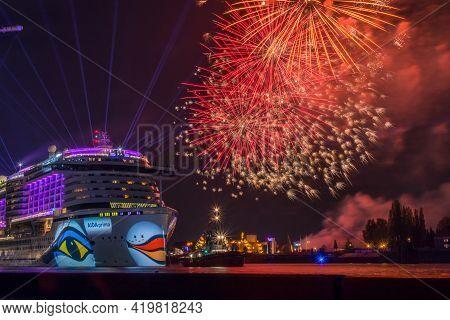 Hamburg, Germany - May 6, 2017: Aida Cruise Ship Liner With Fireworks During Harbor Birthday Firewor
