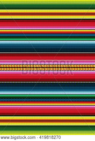 Mexican Style Vector Seamless Pattern. Colorful Stripe Background. Serape Design. Ethnic Boho Fabric