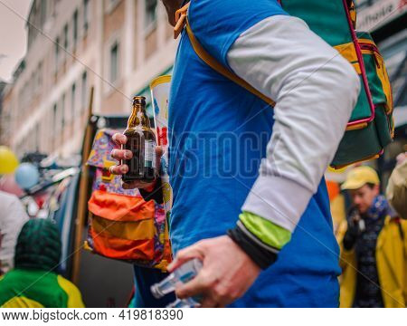 Aachen, Germany - February 12, 2018: The Aachen Rose Monday Procession In The Carnival. Male Person