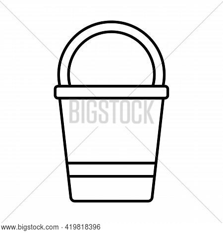 Bucket With Handle For Gardening, Icon Isolated On White Background. Garden Tools, Household Plot, A