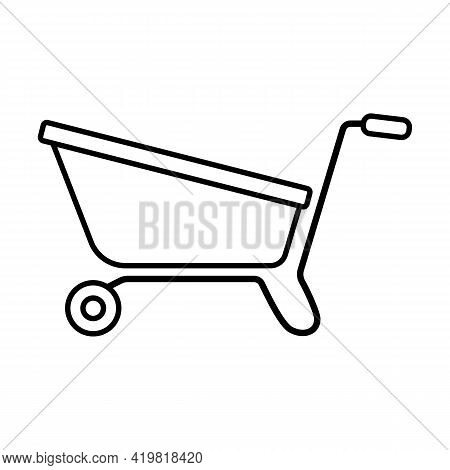 Garden Cart For Seedlings Icon Isolated On White Background. Wheelbarrow, Garden Tools, Household Pl