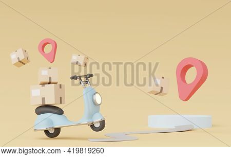 3d Render Of Minimal Cartoon Of Parcel Delivery Scooter Or Motorbike. Online Shopping And Fast Deliv
