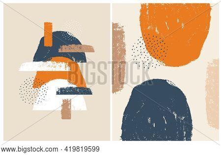 Set Of 2 Abstract Geometric Vector Illustration. White, Orange And Dark Blue Grunge Semi Circles, Sp