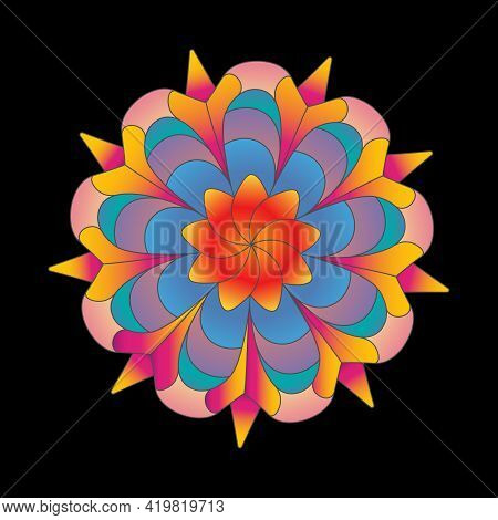 Color Flower Pattern For Scrapbooking, Impression, Stamp, Figure Carving And Creative Design. Flat S