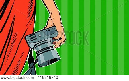 Female Hand With A Camera. Woman In A Red Dress. Photographing In The Studio. Vector Banner Illustra