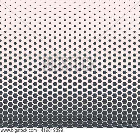 Hexagon Monochrome Halftone Pattern Shapes. Modern Abstract Geometric Texture. Template Design For S