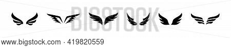 Flat Wings Vector Icon Set. Wings Icon Collection. Template Set. Minimalistic Wings Icons For Decora