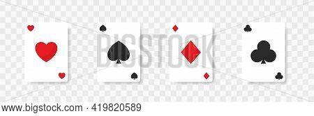 Playing Cards Template On Transparent Background. Vector Playing Cards Mockup. Card Suits. Ace Card