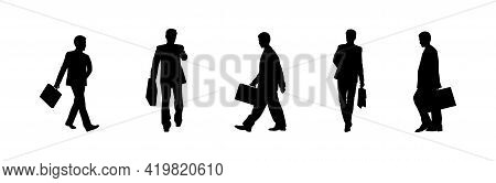 Businessman Shilouette Isolated Vector. Business People Walking, Crowd Shilouette Isolatet Vector. P