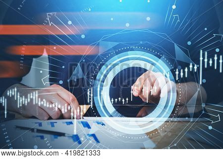 Businessman Or Stock Trader Analyzing Stock Graph Chart To Make Right Investment Decision For His Cl