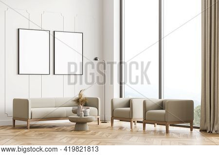 Modern Living Room Interior With Wooden Floor, Furniture, Table And Sofa, Armchairs. Home Architectu