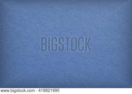 The Surface Of Blue Cardboard. Paper Texture With Cellulose Fibers. Elegant Tinted Background With V