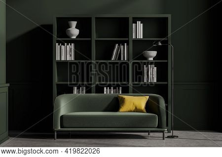 Modern Living Room Interior With Concrete Floor, Furniture, Table And Sofa, Living Space, Panoramic