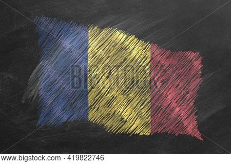 National Flag Of Romania Hand Drawn With Chalk On Blackboard. Flag Waving In Wind. One Of A Large Se