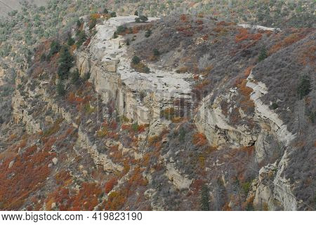 Autumn In Mesa Verde, Colordao.  A Panoramic Landscape Of The Colorful Cliffside From The Top Of The