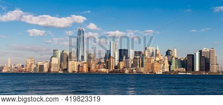 Lower Manhattan City Skyline, Featuring Some Of The Tallest Buildings In New York City, Usa.
