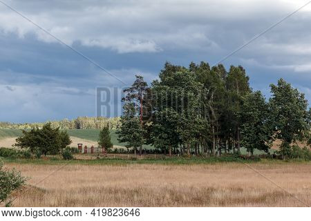 Landscape Of Old Burying Ground And Lithuanian Country Fields