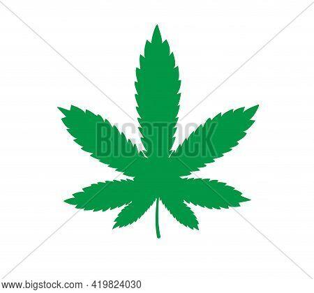 Marijuana Green Leaf. Pot Leaf. Hemp Marijuana Hemp Leaves Flat Vector Illustration