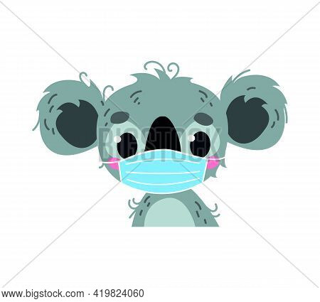 Animal Koala Wearing A Surgical Protective Mask. Healing Mask To Protect Against Viruses. Baby Carto