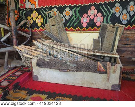 Antique Carpet Weaving Tools. Carpet Weaving In Serbia And Bosnia. Handicraft Chest With Wooden Fram