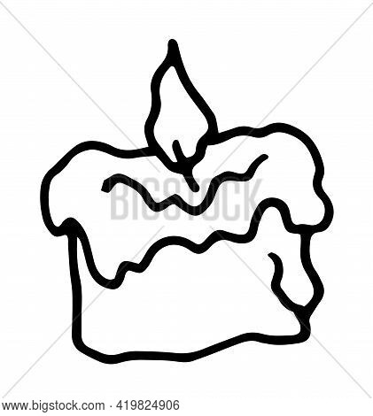 Doodle Doodle Candle Wax For Decoration Design. Sketch Drawing. Fire Flame. Line Art Icon On White B
