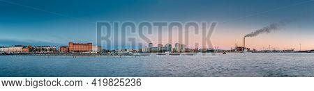 Helsinki, Finland - December 10, 2016: Multistorey Residential Houses In Merihaka District In Mornin