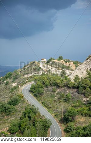 The Ancient Greek Chapel Is Located At The Top Of The Mountain.