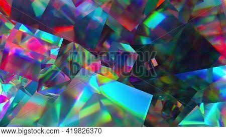 Bright Precious 3d Render Geometrical Stones With Glare Of Magical Gemstone Light. Polygonal Iridesc