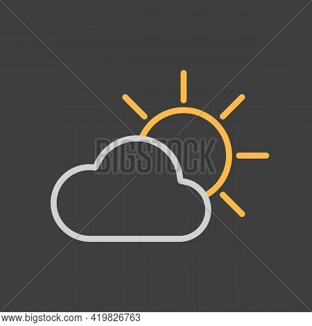 Sun And Cloud Vector Icon On Dark Background