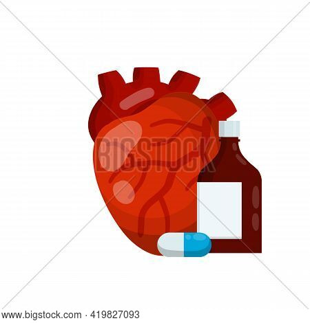 Heart And Tablet Packaging. Bottle Of Pills. Treatment Of Cardiac Pain. Cardiology And Health. Hospi
