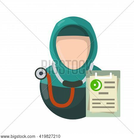 Treatment And Health. Diagnosis File Document. Arab Woman In Hijab. Muslim Medic. National Dress