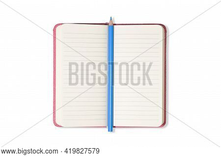 Pink Blank Open Office Notepad Or Notebook Isolated On White Background And Blue Pencil. Mock Up. To