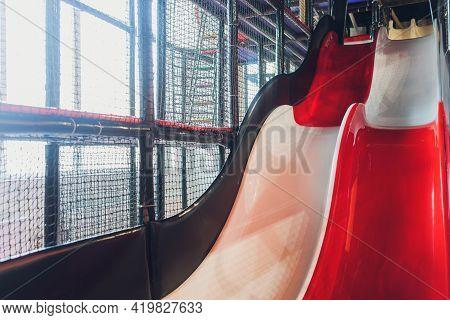 A Modern Children Playground Indoor With Long Slide . Childrens Playground . Kindergarden Playground