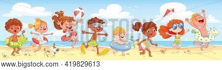 Children Have Fun Running On The Beach. Kid With Inflatable Rubber Circle Run To Sea. Summer Time. S