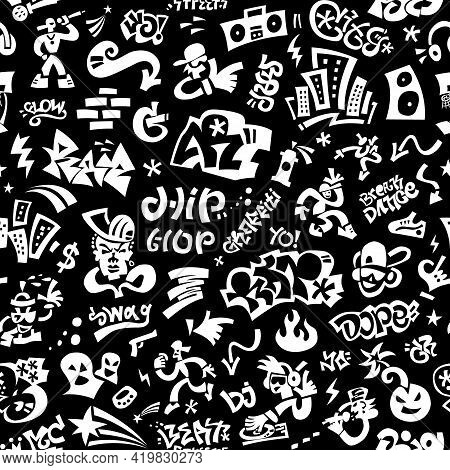 Rap Music , Hip Hop Seamless Vector Background