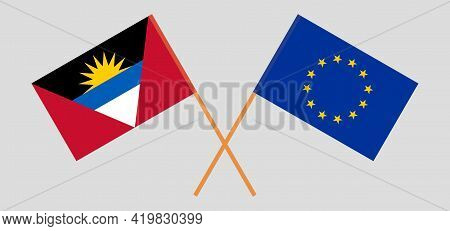 Crossed Flags Of The Eu And Antigua And Barbuda