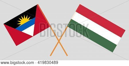 Crossed Flags Of Hungary And Antigua And Barbuda